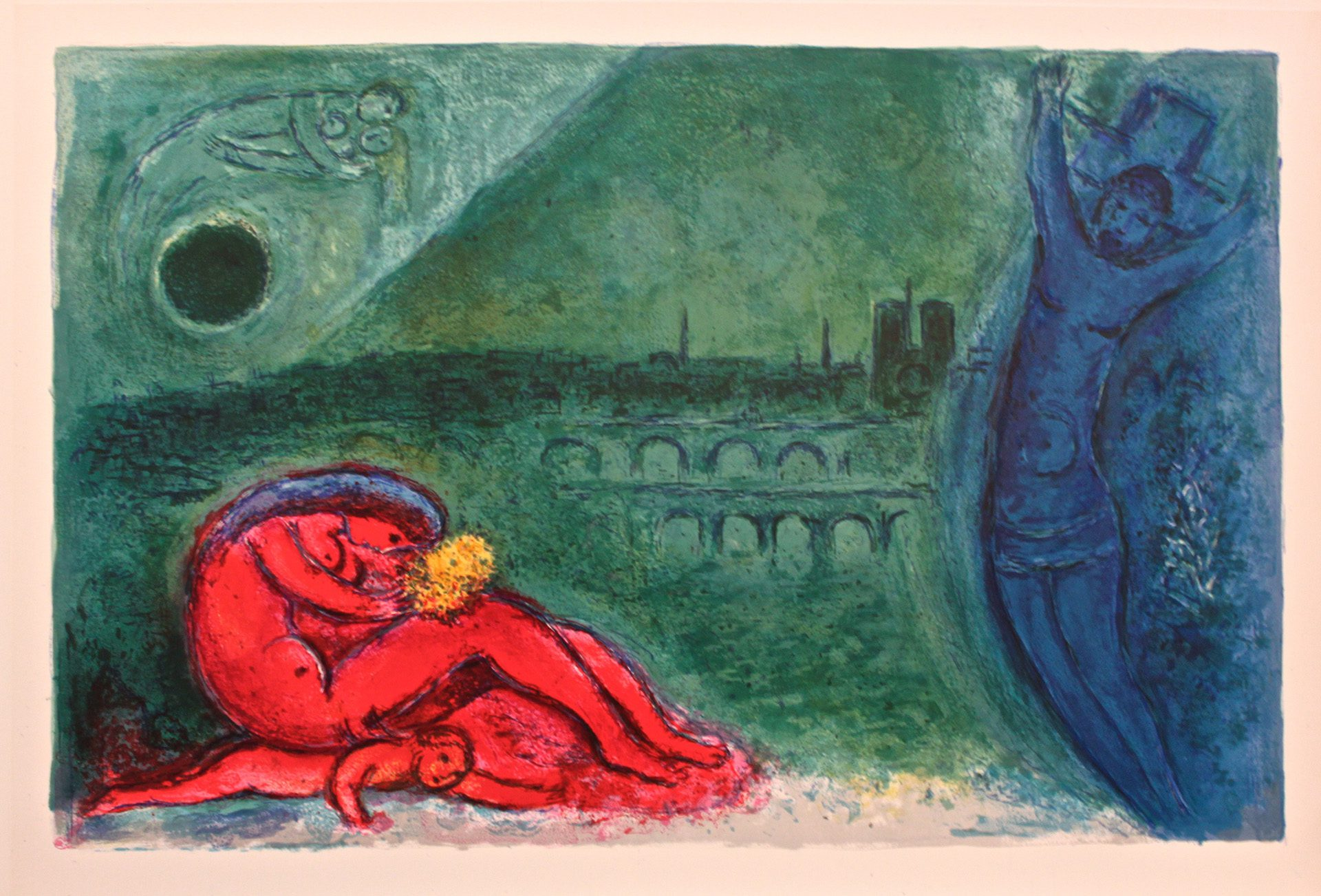 Chagall, Regards sur Paris, litho 1963. Dubbel.