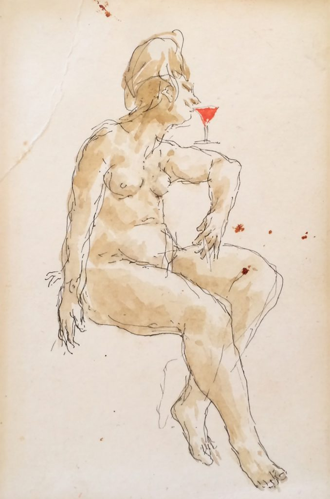 Nude with Wine